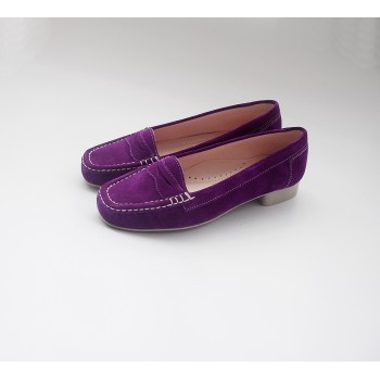 WOMEN LEATHER MOCCASIN MOD. M2-021 PURPLE