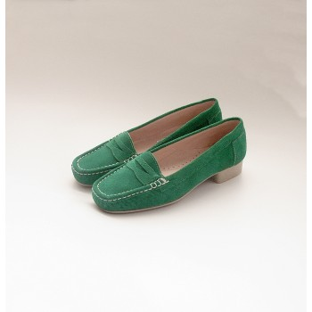 WOMEN LEATHER MOCCASIN MOD. M2-021 GREEN